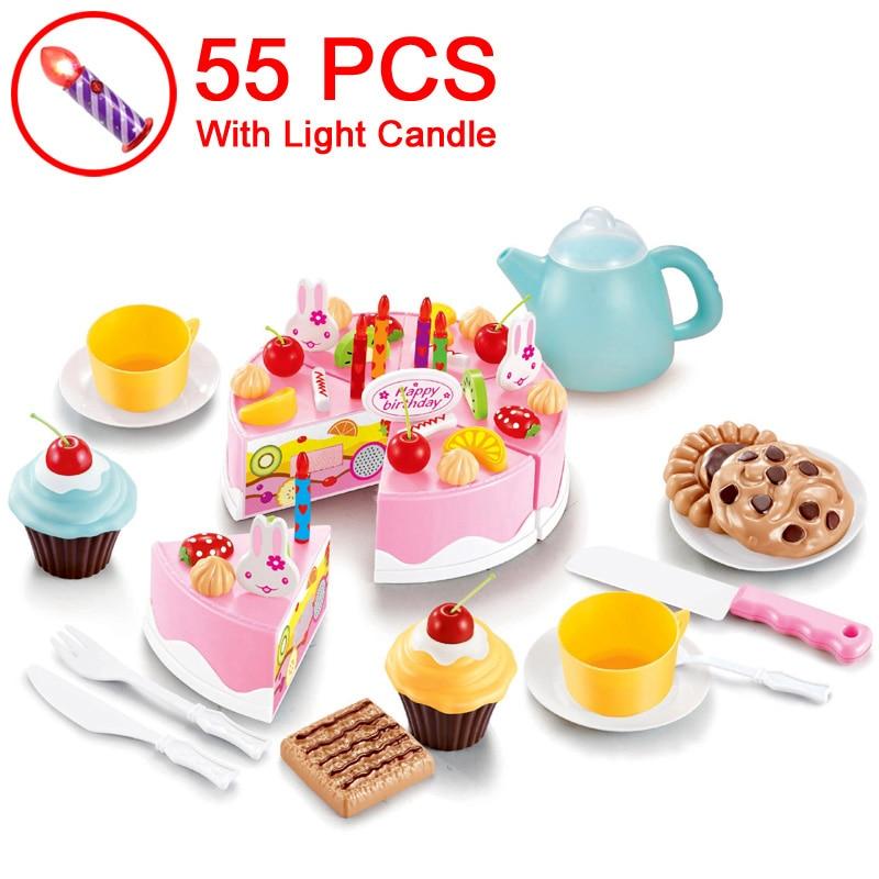 37 80PCS DIY Cake Toy Kitchen Food Pretend Play Cutting Fruit Birthday Toys Cocina De Juguete