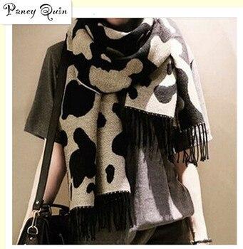 Bufandas clásicas con borlas de leopardo con diseño de vaca para mujer, bufandas cálidas para mujer, bufandas de Cachemira, venta al por mayor