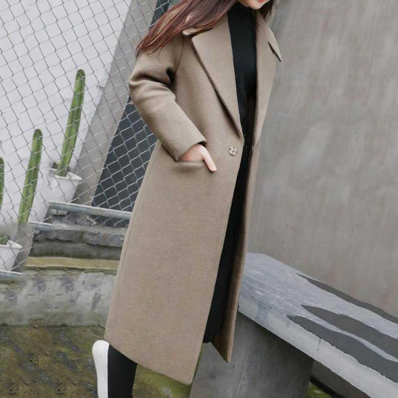 009eeba9304 classic solid Women Winter Warm Wool Lapel Trench Parka Coat Jacket Long  Slim double-sided