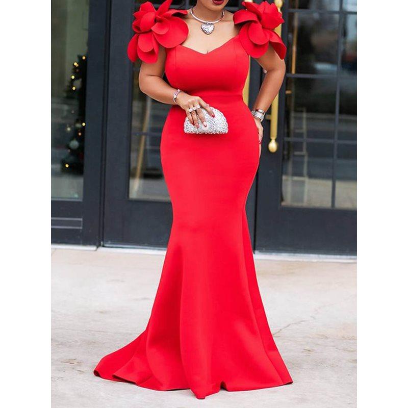Été sirène longue Robe élégante soirée femmes 2019 nouveau élégant 3D fleur conception fête Robe Vintage Sexy moulante Maxi robes