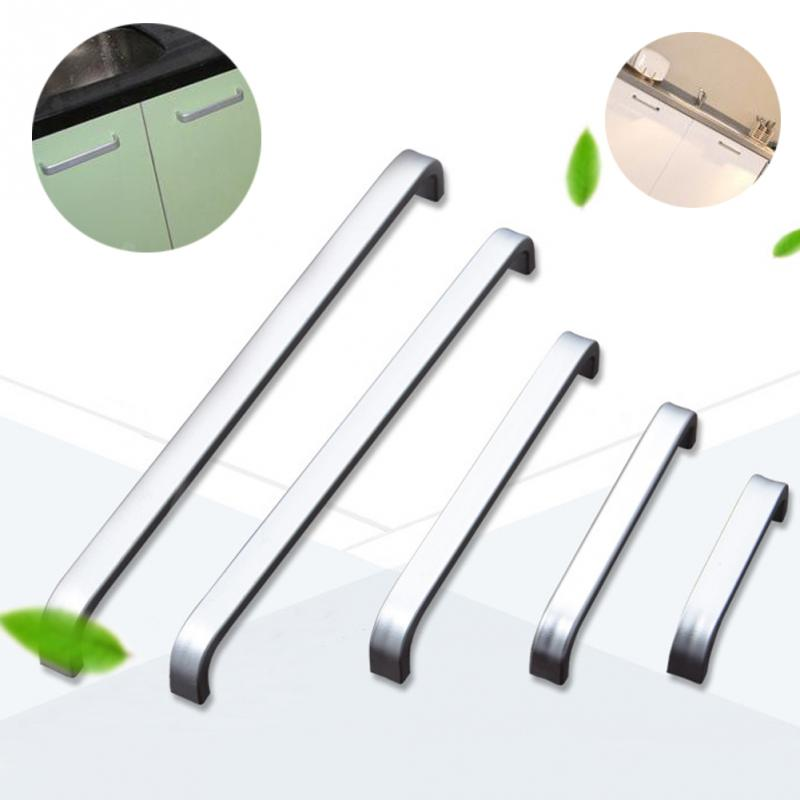 5 Lengths Solid/ Space Aluminum Handle Kitchen Furniture Pulls Wardrobe Handle Drawer Handle 64mm/96mm/128mm/160mm/192mm