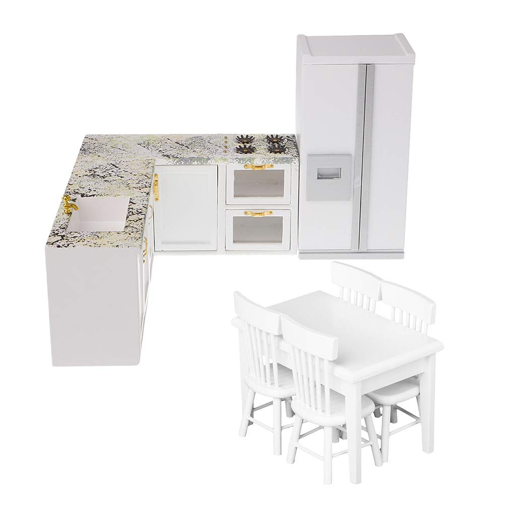 1/12 Miniature Wooden Kitchen Cabinet Refrigerator Table Chair Doll House Furniture Accessories Toys for Children Toddler Kids
