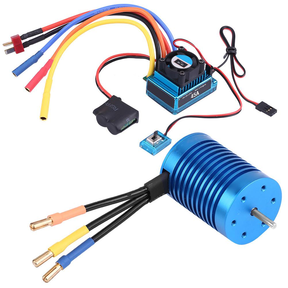 Rcharlance Splashproof Brushless Set F540 3000KV 4370KV Motor 45A ESC for 1 10 Scale RC Car