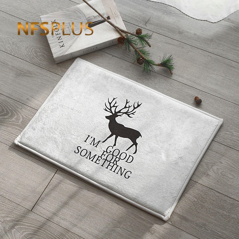 Cartoon <font><b>Deer</b></font> Printed Anti-Slip Floor <font><b>Mat</b></font> Living Room <font><b>Bathroom</b></font> Bedroom Carpet Kitchen Rug Front Door <font><b>Mat</b></font> Indoor Entrance Doormat image