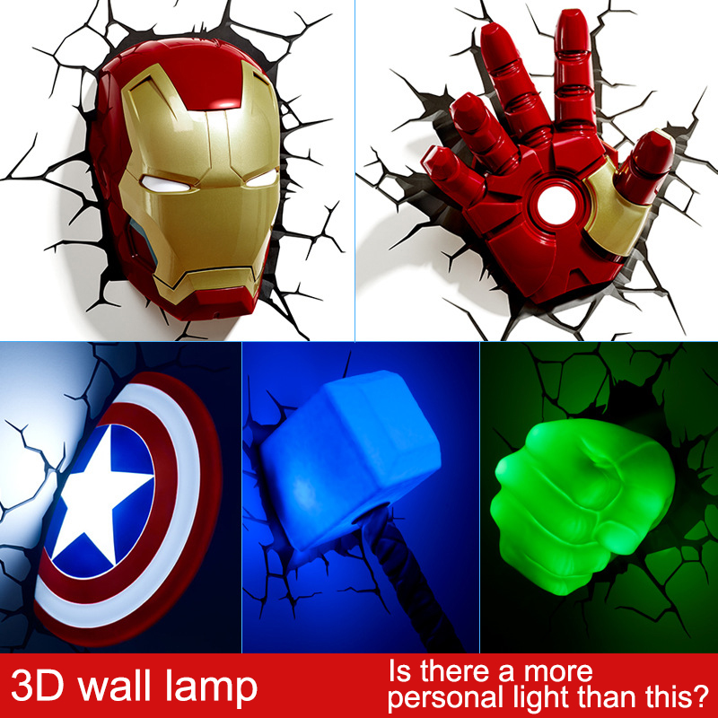 Artpad Marvel Toys 3D Sticker Wall Lamp Avengers Iron Man Iron Man Hulk Captain America LED 3D Wall Light Fixtures For Bedroom