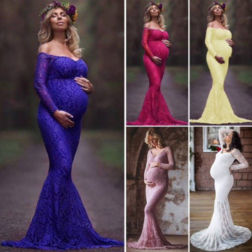 Hot Solid Maternity Pregnancy Gown Lace Photography Props Long Sleeve Long Maxi  Dress Photo Shoot gown