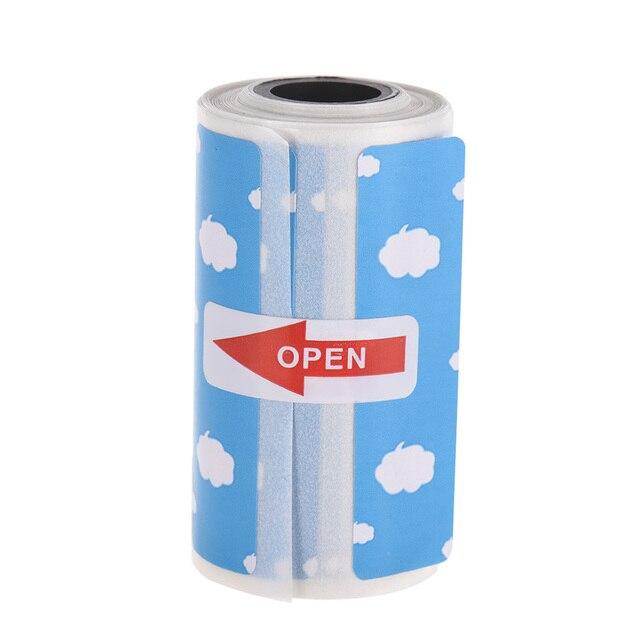Etiquetas térmicas directas de dibujos animados lindos rollo 57*30mm etiqueta adhesiva fuerte impresión clara para PeriPage A6 bolsillo BT impresora térmica