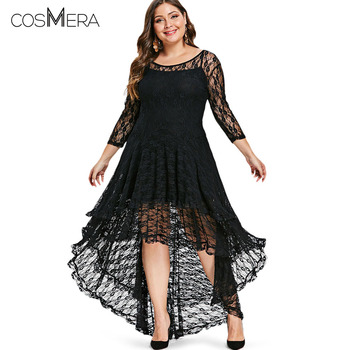CosMera High Low Lace Dress With Cami Women Clothing 2018 Fall Fashion See Thru O Neck Midi Dresses Ladies Vestidos Plus Size