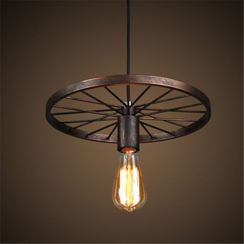 Retro Iron Light Industrial Lamp Nordic Metal Wheel Lights Hanging Lamp E27 Indoor Lighting Ceiling Light Home DecorRetro Iron Light Industrial Lamp Nordic Metal Wheel Lights Hanging Lamp E27 Indoor Lighting Ceiling Light Home Decor