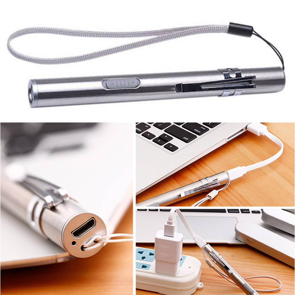 Flashlight Medical Examination Camping Portable Pen Clip Led Stainless Steel USB Rechargeable Visual Oral Throat Mini Torch