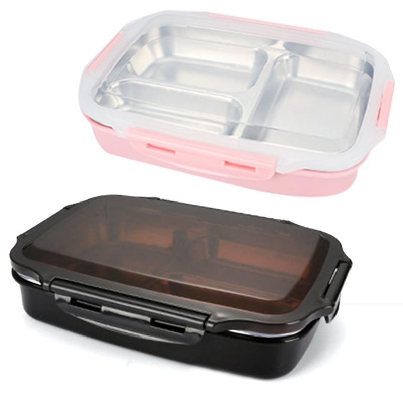 NEW 3 Grids Stainless Steel <font><b>Lunch</b></font> Bento <font><b>Box</b></font> Thermal Insulated <font><b>Lunch</b></font> <font><b>Box</b></font> <font><b>Food</b></font> <font><b>Container</b></font> School Black Pink image