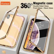 Dla iphone 8 7 plus iphone X XS Max XR przypadku telefonu 360 pokrywa coque luksusowe dwustronna przód + tył jasne szkło metal magnetyczny futerał