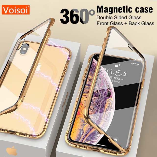 For iphone 8 7 plus iphone X XS Max XR phone case 360 cover coque Luxury Double sided front+back clear glass metal Magnetic case