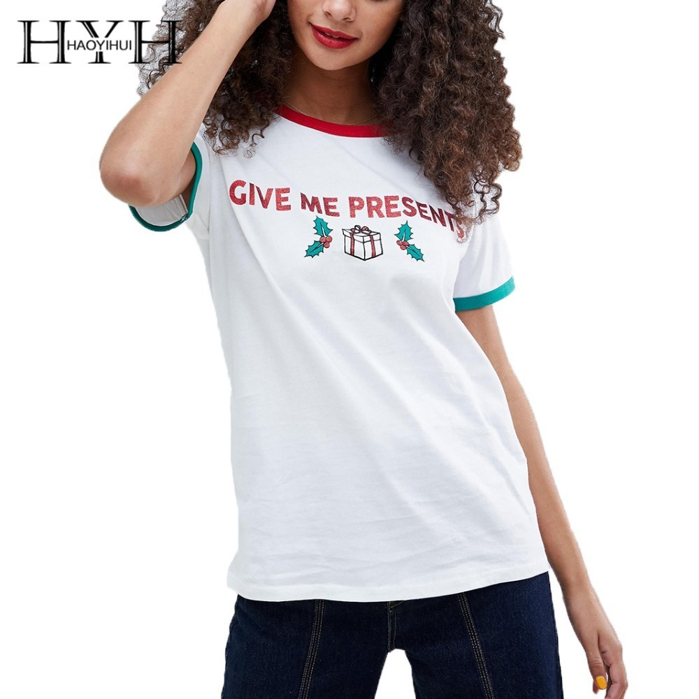 HYH Haoyihui Summer Print T shirt Pure Color New Girl Simple Commuter Flash Printing Christmas Day Short Sleeve in T Shirts from Women 39 s Clothing