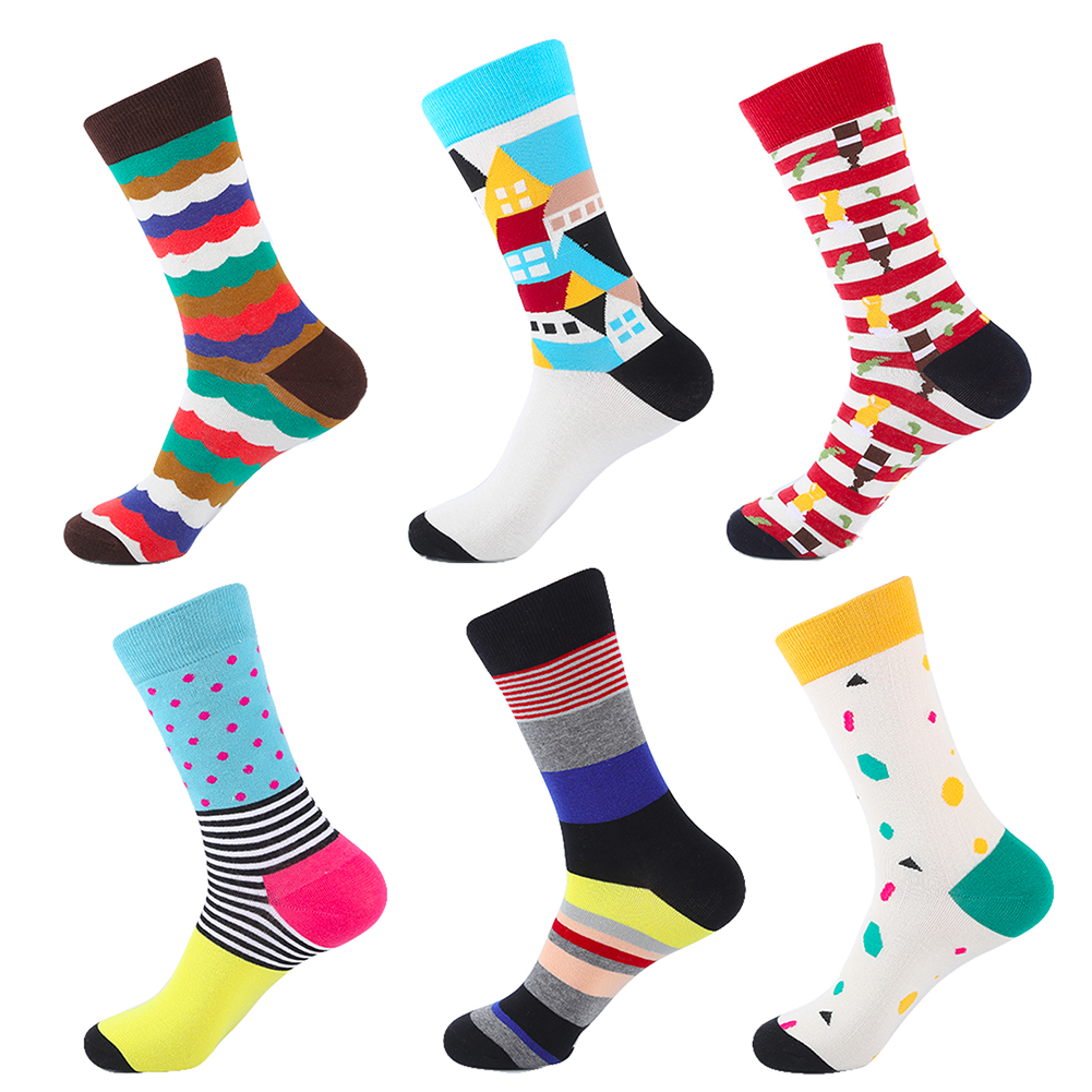 YEADU Happy Funny Sock Business Waves Tryck Herrstrumpor Combed Cotton Novelty Strumpor