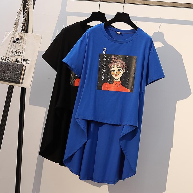 XL-4XL grande taille femmes coton t-shirt robe été 2019 à manches courtes bande dessinée imprimer lâche décontracté asymétrique Mini robes bleu