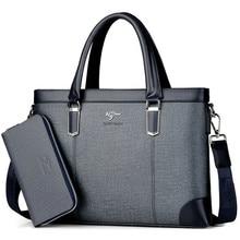 Bolso de mano de diseño clásico para hombre, Maletín de negocios, bolso de ordenador, bolsos de oficina para hombre, impermeable, tela de PVC, bolso de hombro de trabajo de viaje