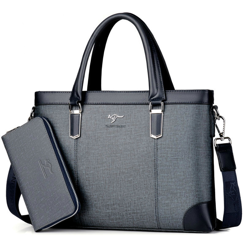 Classic Design Handbag For Man Business Briefcase Computer Bag Men's Office Bags Waterproof PVC Fabric Travel Work Shoulder Bag