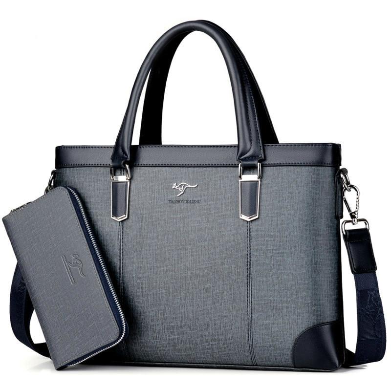 Classic Design Handbag For Man Business Briefcase Computer Bag Men's Office Bags Waterproof PVC Fabric Travel Work Shoulder Bag