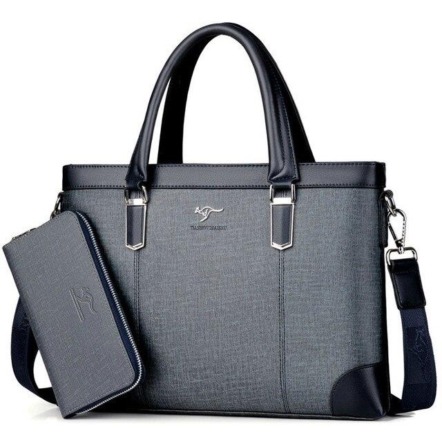 คลาสสิกออกแบบกระเป๋าถือสำหรับ Man Business กระเป๋าเอกสารกระเป๋าคอมพิวเตอร์ชายกระเป๋าสำนักงานผ้ากันน้ำ PVC Travel กระเป๋าทำงานไหล่