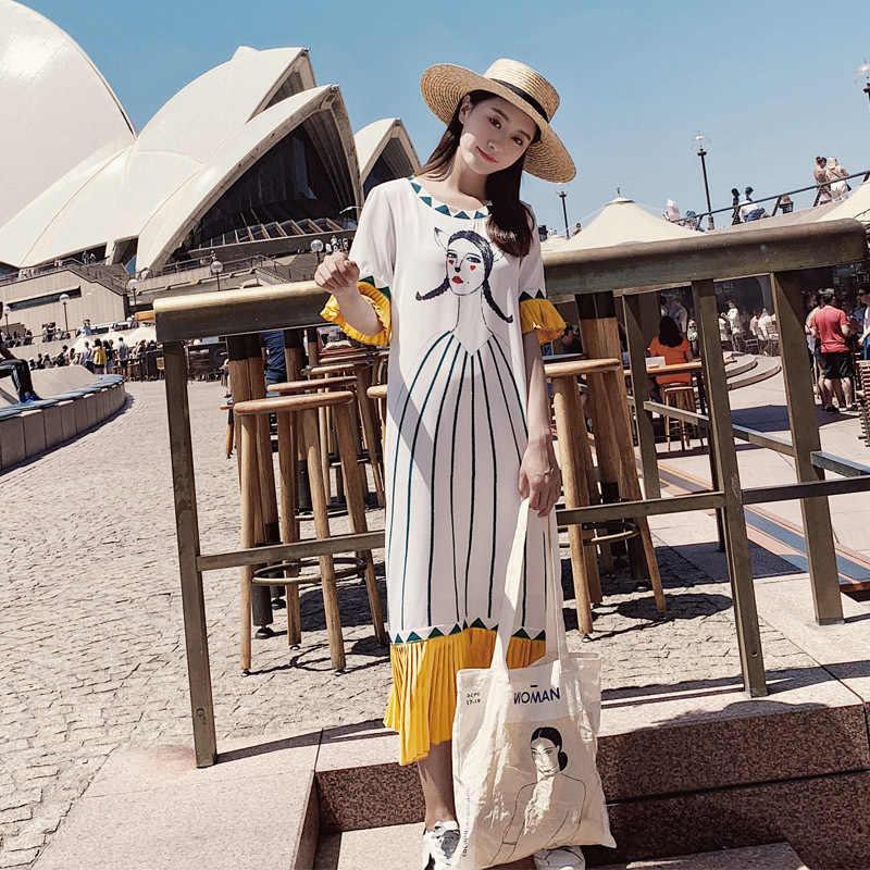 LANMREM 2019 летняя одежда для женщин с принтом контрастного цвета шифон короткий рукав контрастный цвет лоскутное платье YG93800