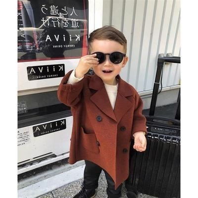 Winter Jackets Boys Solid Woolen Double-breasted Baby Boy Trench Coat Lapel 3 4 5 6 7 Y Kids Outerwear Coats For Boy Windbreaker Islamabad