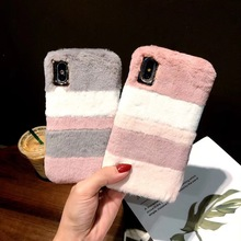 Luxury Cute Warm Fluffy Rabbit Case For iPhone XS MAX Lovely Splice 6sP 7P 8Plus Furry Soft TPU Back Cover