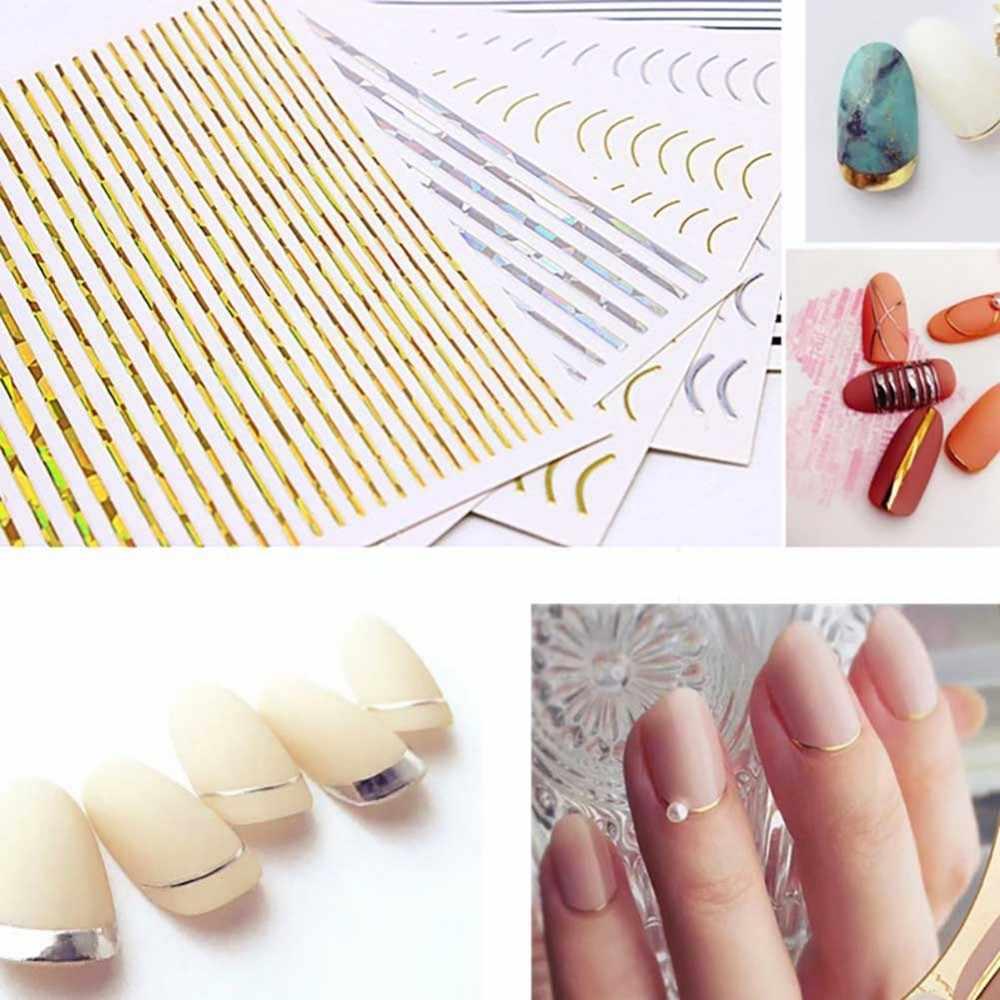 1 шт. розовое золото серебро 3D-Наклейки для ногтей кривая полосы линии гвозди стикеры s Клей Чередование клейкие ленты дизайн ногтей Стикеры s наклейки