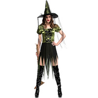 Fashion New Green Witch Cosplay Costume Halloween Party Cool Warlock Fancy Dress With Long Hat For Adult Women