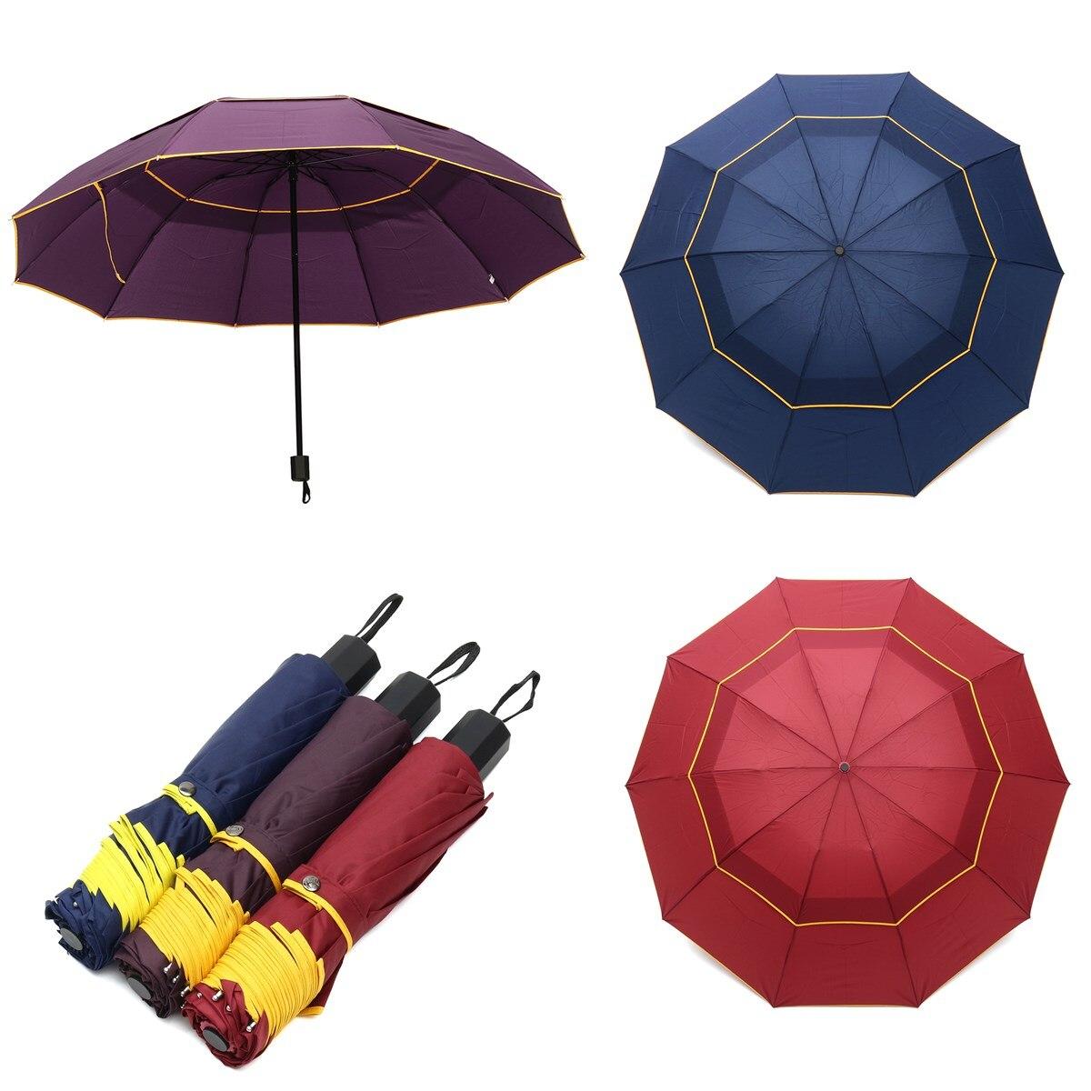 Wind Resistant Three Folding Automatic Umbrella Rain Women Auto Big Windproof Umbrellas Men Frame Windproof Rain Gear Large