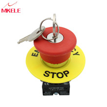 Key Reset Red Cap Emergency Stop Push Button Switch 660V 10A High Quality Top Selling China nc emergency stop no red green push button switch station 600v 10a