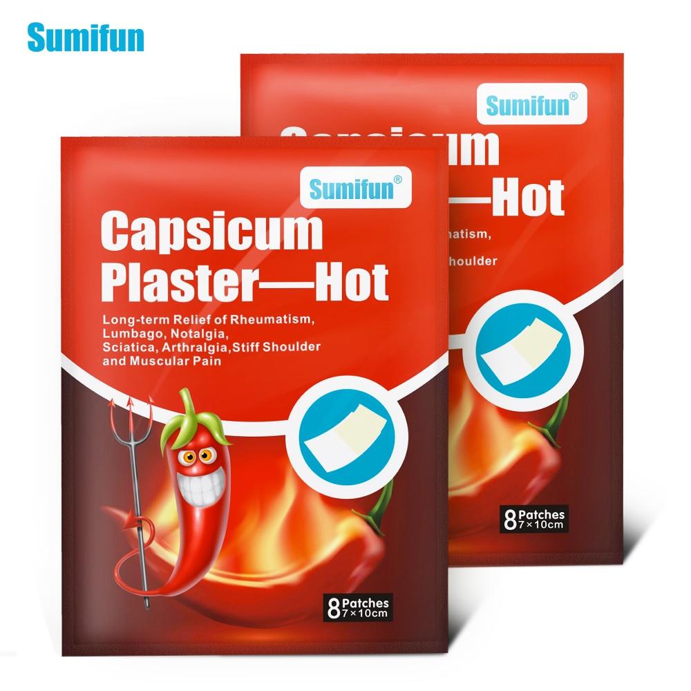 Sumifun 16Pcs Capsicum Plaster Hot Muscle Fatigue Neck Pain Backache Shoulder Joint Pain Patch Body Massager D0672