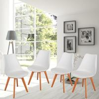4Pcs Soft Pad Leisure Chair Wooden Leg Living Room Stool Home Hotel Restaurant Dining Furniture Nordic Backrest Chair