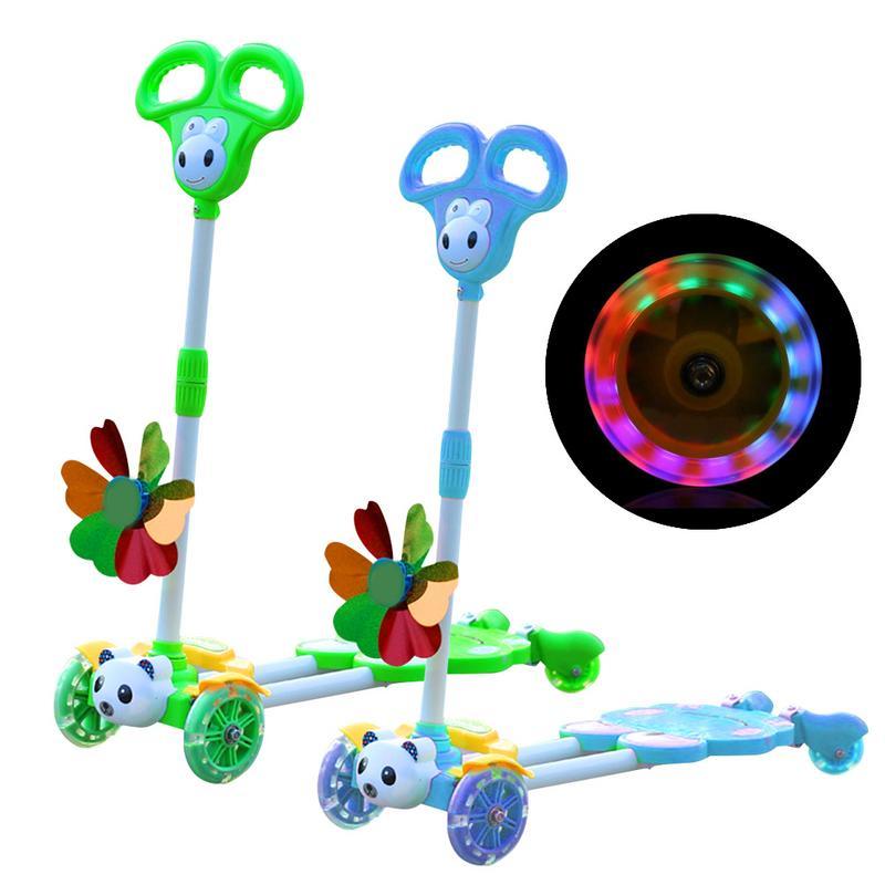 Vélos Scooter cadeau pour enfants amusant exercice jouets mignon grenouille Scooter enfants coup de pied Scooter clignotant à quatre roues 4