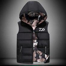 Daiwa рыбалки Костюмы рыбалка жилет Для мужчин две стороны одежда Зимние виды спорта утолщение куртка Водонепроницаемый теплый хлопковый жилет