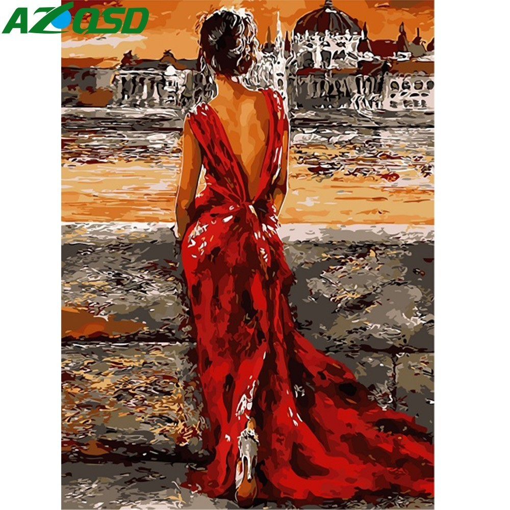 AZQSD Painting By Numbers Paint Girl Silhouette DIY Canvas Picture Hand Painted Oil Painting Home Decoration SZYH6297