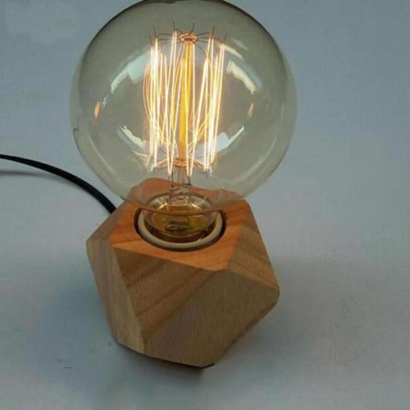 Led Lamps Modern Table Lamp E27 Wooden Desk Lamp Diamond Bedside Lamp For Home/bedroom/living Room Decor Eu-plug Wooden Base Tafellamp