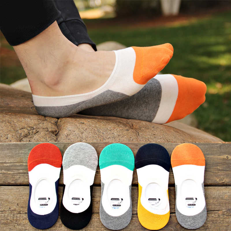 Breathable Hot Sale Silicone Pad Cotton Soft Invisible 1Pair Korean Anti-skid Fashion Casual Ankle Socks Boat Socks Striped Men
