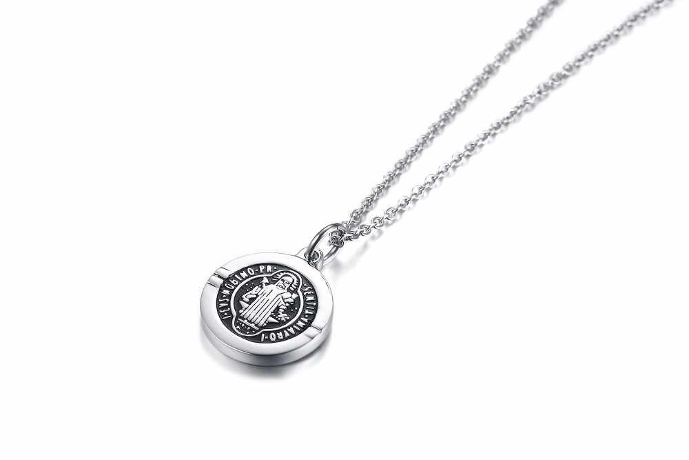 Święty benedykt Medal wisiorek San Benito naszyjnik srebrny Tone urok biżuteria ze stali nierdzewnej w 20 cal 24 cal Chain Link