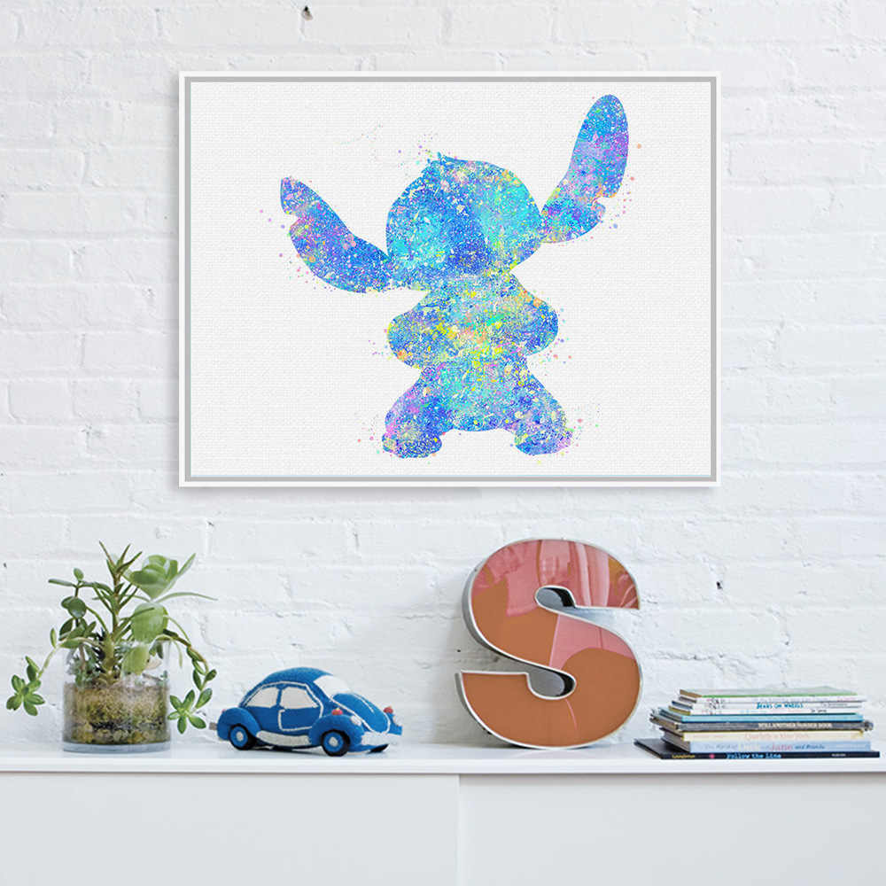 New Watercolor STITCH Animation Movie Poster Core Cute Cartoon Living Room Children's Room Decorative Hanging Painting Wall Art