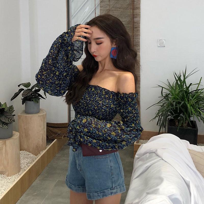 Women Slash Neck Long Sleeve Off Shoulder Stretchy Printing Flower Chiffon Shirts Tee Girls Blouses shirts Tops For Female 2019