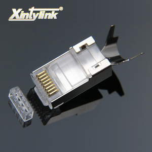 Image 1 - xintylink cat7 rj45 connector rj 45 ethernet cable plug cat6a 8P8C stp shielded cat 7 network conector jack modular 10/50/100pcs