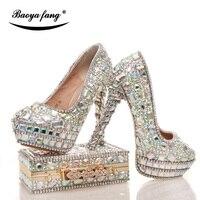 Женские свадебные туфли с Сумочки в комплекте Сияющий кристалл из натуральной кожи обувь для невесты и наборы кошельков обувь на платформе