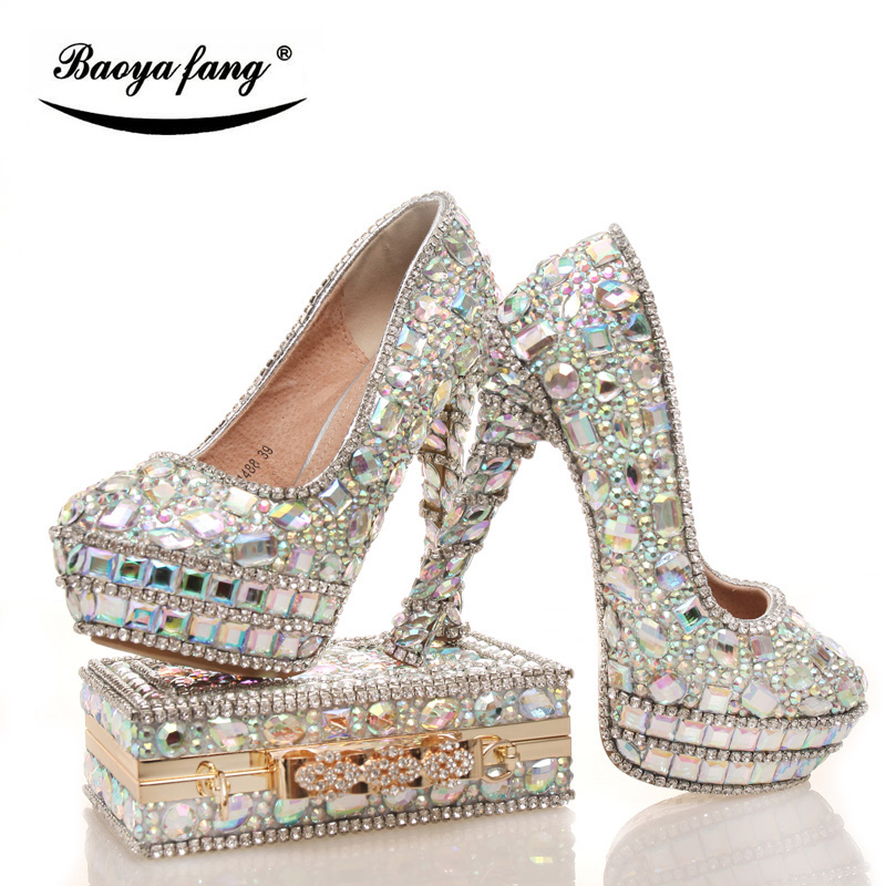 Womens wedding shoes with matching bags Shining Crystal real leather Bride shoes and purse sets platform shoes Big size 43