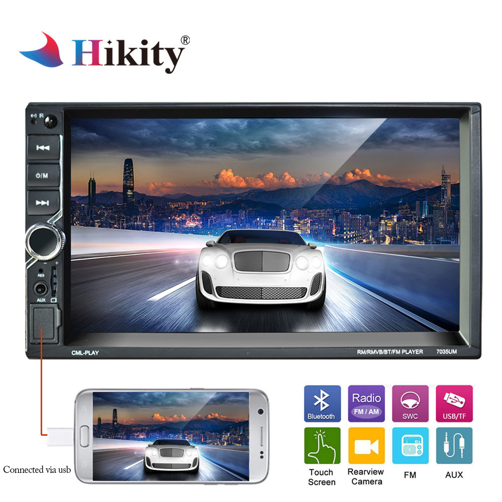 Hikity 2 din Car Multimedia Player Autoradio 2din Car radio 7 Touch Video MP5 Player Mirror