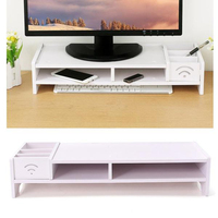 Wooden Monitor Stand Desk Riser with Two Tier Desktop Storage Organizer for Laptop Cellphone TV Printer Stand(White)
