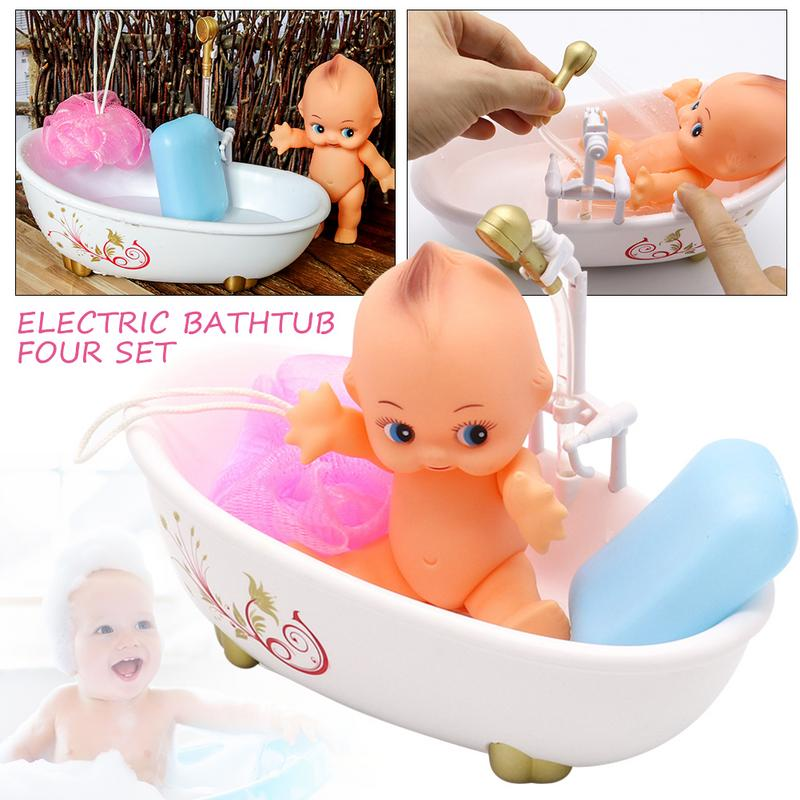 Children's Simulation Play Suit Girl Baby Shower Bath Toys Bathroom Mini Doll Electric Spray Water Bath Suit Baby Comfort Toys