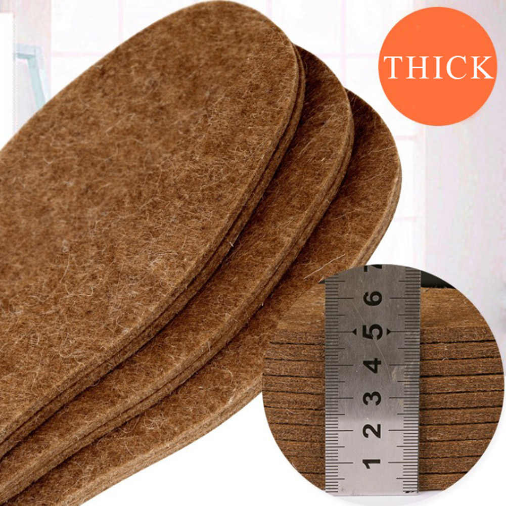 1 Pair  Wool Insoles Winter Thick Soft Hard-Wearing Sweat-Absorbant Warm Plush Breathable Solid Can Be Cut Unisex Cotton Pads