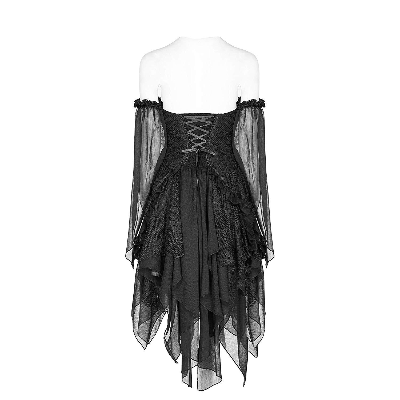 PUNK RAVE Vrouwen Gothic Lolita Zwart Kant Sexy Jurk Mode Chiffon Mini Party Dress Avond Party Slash Neck Fashion Jurken - 6