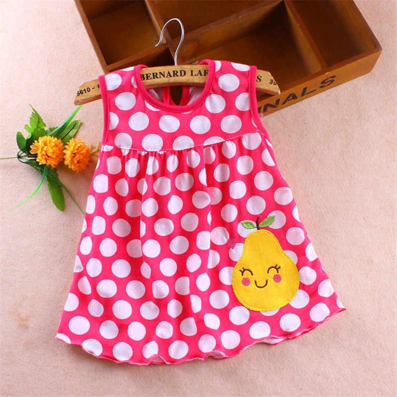 FHADST חדש 2018 תינוק בנות שמלת יילוד אופנה קיץ שמלות רגיל ללא שרוולים באורך הברך תינוקות O-צוואר חמוד כותנה בגדים